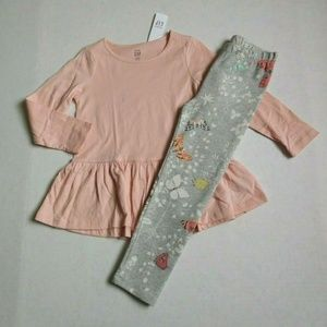 NWT Gap Pink Tunic Top & Butterfly Leggings